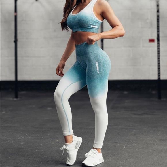 61c68acf6709b7 Gymshark Pants | Ombre Seamless Leggings Teal Ice Blue | Poshmark